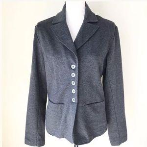 Chicos Ponte Knit Button Up Blazer Jacket Size 1